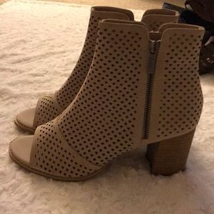 mari a Shoes - Tan Perforated Peep Toe Booties!
